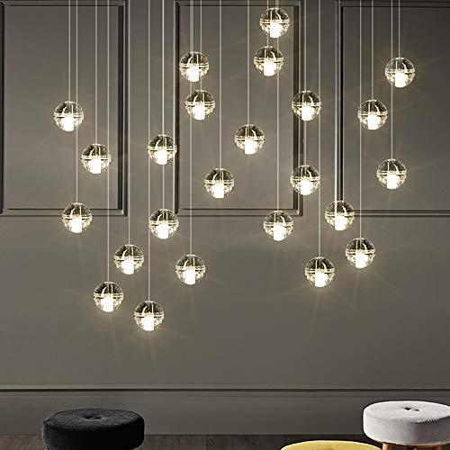 ERT Lámpara de techo LED de doble espiral para ducha de Meteor, con bola de cristal, para casa, restaurante, villa (color: luz blanca, tamaño: H)