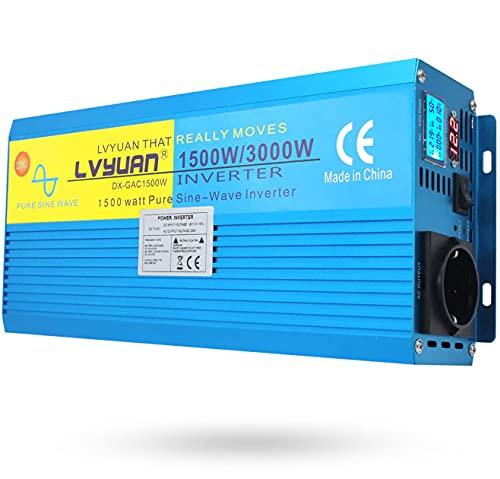 Yinleader Inversor Onda Sinusoidal Pura 1500W Transformador De 12v A 230v 3000W,...