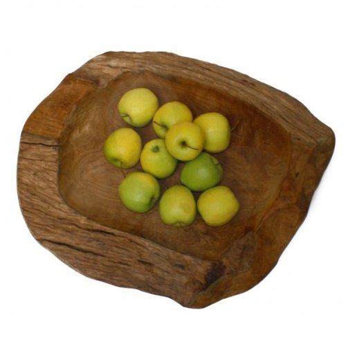 wohnfreuden Teak-Holz-Schale ca 40 cm geschliffen braun Dekoration Aufbewahrung