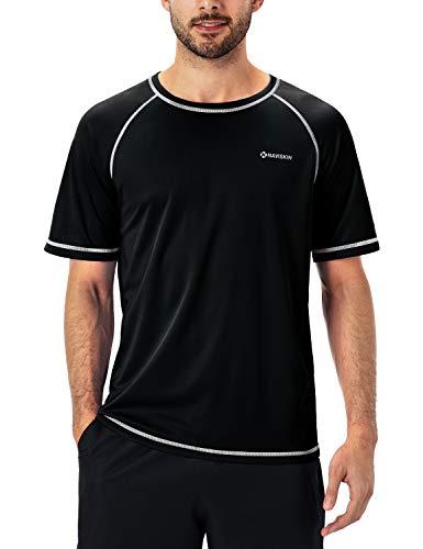 NAVISKIN Playera de Natación UPF 50 para Hombre, Rashguard de Manga Corta, Camiseta Deportiva de Playa Surf Deporte Ligera Secado Rápido, Negro XL