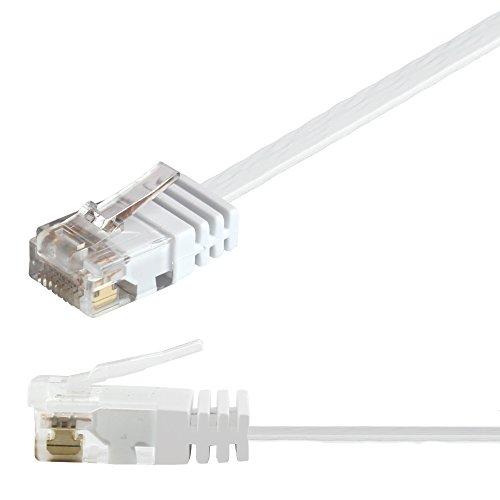 Ligawo 1014113.0 Patchkabel Netzwerkkabel Cat6 Flexibel Slim Design Flachkabel (2m) weiß