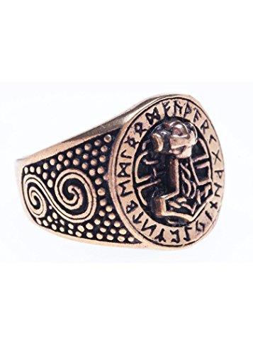 Battle-Merchant Bronzener Wikingerring mit Runen und Thorshammer Bronzering LARP Wikinger...