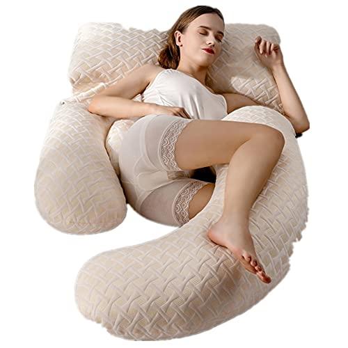 USMEI Almohada de Embarazo, Cubierta de refrigeración en Forma de U, Almohada de Cuerpo Completo de Forma de U, Almohada de Maternidad de Cuerpo Completo