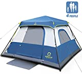 OT QOMOTOP 4 Person Instant Cabin Tent, 60 Second Easy Setup, FamilyTents for Camping, Waterproof Top Rainfly, Advanced Vent Design, Electrical Cord Access and Door Mat