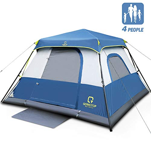 OT QOMOTOP 4 Person Instant Cabin Tent, 60 Second Easy Setup, FamilyTents for Camping, Waterproof Top Rainfly, Advanced Vent Design, Electrical Cord...