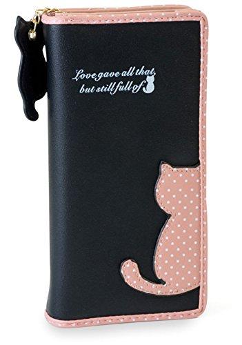 fashionchimp ® Geldbörse im Katzen-Design mit Reißverschluss und Katzen-Anhänger, Portemonnaie für Damen (Schwarz-Rosa)
