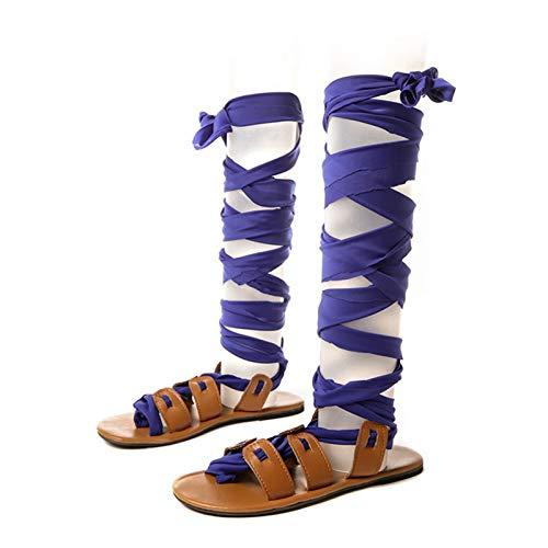 Summer Women Flat Sandals Cross-tied Calf Strap Flip Flops Rome Sexy Party Ladies Shoes Heel Solid Women Casual Fashion Beach Non-Slip Sandals Slipper Flats ( Color : Blue , Size : US 10 (EU 42) )