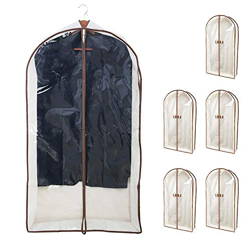 Smart Design Canvas Gusseted Garment Bag Hanger - (24 x 42 Inch) - Clothing Storage Cover - w/Cedar Wood - Odor Repellent - Suits, Dresses Travel Closet Organization - (Natural Canvas) - Set of 6