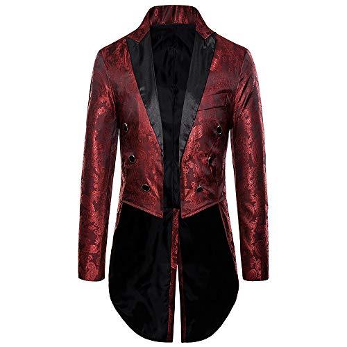 wenyujh Blazer Homme Mode Slim Fit Veste de Costume Médiévale Queue de Pie Steampunk Gothique Manteau Casual Jacket Mariage Soirée Business Affaires