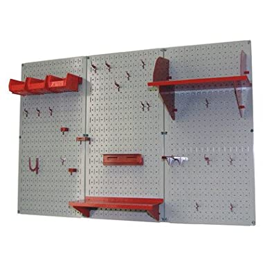 Wall Control 30-WRK-400 GR Pegboard Organizer 4' Metal Standard Tool Storage Kit with Gray Tool Board and Red Accessories
