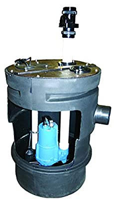 Barnes PitPro 20 by 30 inch Packaged Sewage Pump System – 1/2-HP, 4,300 GPH, For Residential & Commercial Use, Simplex Model 126915