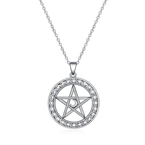 925 Sterling Silber Pentagramm Pentacle Anhänger Halskette Wicca Schmuck für Frauen Männer Geschenke