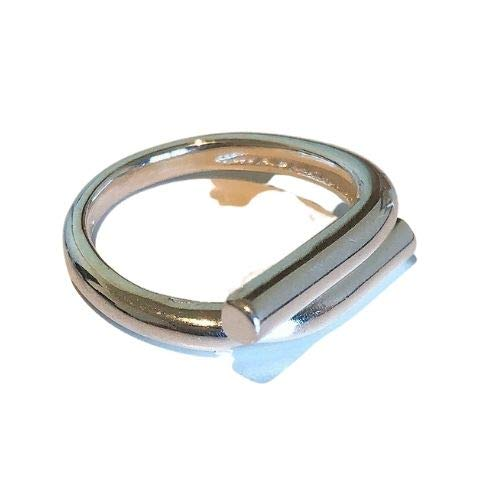 DEMI LOUS. 指輪 おしゃれ オープンリング メンズ レディース サイズ調整可能 真鍮 925シルバーコーティング (M-Cross Bon)
