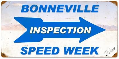 """Motorcycle Cheap sale Bonneville Inspection Speed Week Limited time trial price i Sign Vintage """"Made"""