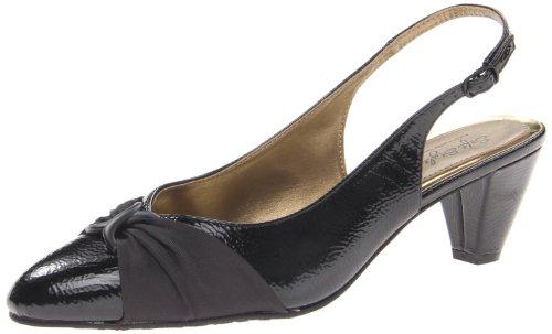 Soft Style Women's Dezarae Dress Pump,Black Crinkle Patent,7 W US