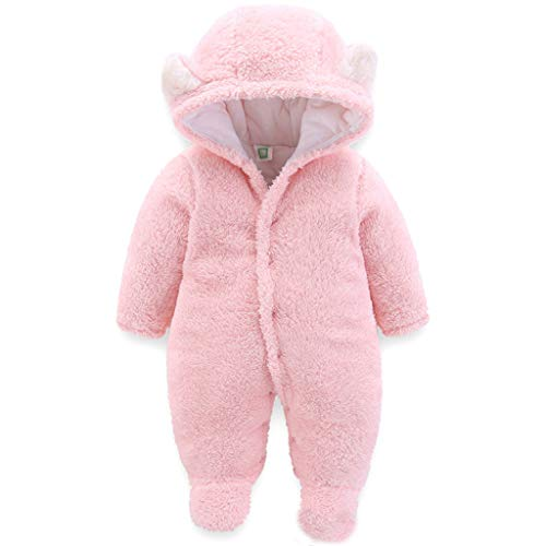 JiAmy JiAmy Baby Winter Overall Mit Kapuze Fleece Schneeanzüge Mädchen Jungen Warm Strampler Outfits Rosa 0-3 Monate