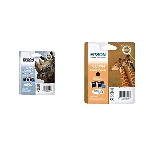 Epson C13T10064010 - Pack de 3 cartuchos de tinta, cian, amarillo y magenta válido + C13T07114H10 - Pack de 2 cartuchos de tinta, negro,