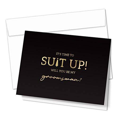 Groomsman Proposal Cards by Hat Acrobat | 8 Will You Be My Groomsman and 2 Best Man Cards with Envelopes | Set of 10 Black and Gold Groomsmen Cards, Perfect for Wedding Party (10)