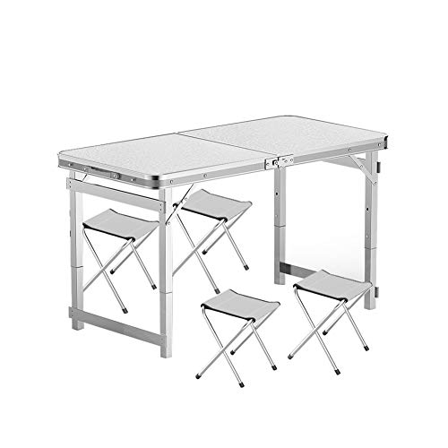 Folding Table Camping Table With 4 Stools Collapsible Suitcase Size Aluminum Frame 120x60x53/65/75cm Used For Garden BBQ Table (Color : White)