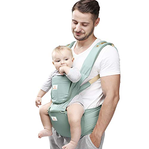 JooBebe Baby Carrier 6 in 1 Usage Front Back Infant Carrier, Soft Shoulder Strap Hip Seat Pad, 360 Ergonomic Protective, Breastfeeding Cover for All Seasons, 0-36 Months (Green)