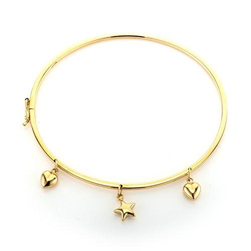 Armreif, 9 Karat Gold, Stern- und Herzanhänger