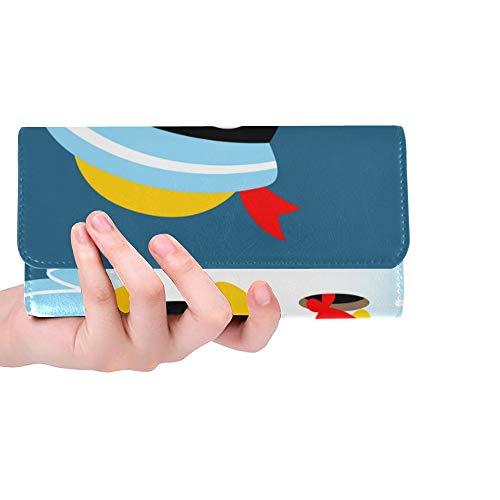 RFID Blocking Geldbörse Kartenhalter Brieftasche Pinguin Seemann Hut Angeln Zeit Brieftasche Clutch Große dreifach gefaltete Leder Kartenhalter Brieftasche Kreditkarteninhaber Fall Handtasche