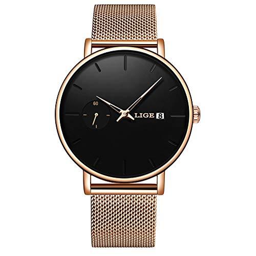 Relógio masculino de quartzo analógico simples com mostrador de ouro rosa da LIGE para homens e mulheres, clássico, casual, calendário, à prova d'água, pulseira de aço inoxidável, relógio de pulso masculino