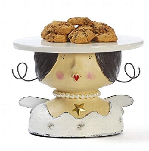 Baden Aufsteller Deko Kopf Frauenkopf Ladykopf Engel als Kuchenplatte cremeweiß mit Perlenkette oder Gold mit Sternohrring (Creme)