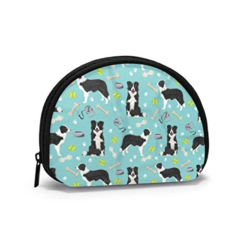 Border Collie Toys Tennis Balls Light Blue Women Girls Shell Cosmetic Make Up Storage Bag Outdoor Shopping Coins Wallet Organizer