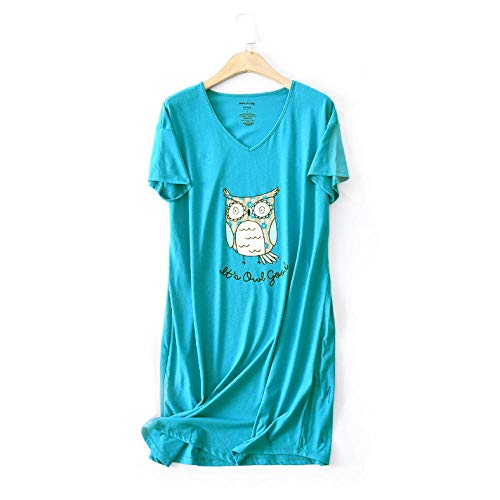 Kllomm Niedliche Cartoon Eule Nachthemden für Frauen Sommer Baumwolle Schlafanzug Pyjama Nachtwäsche Frauen Nachtkleid Plus Größe-M