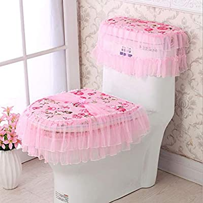 KRWHTS Pink Toilet Seat Cover Set,Flannel Cashmere Lace Printed Home Decoration,3Pcs-Water Tank Cover+Toilet Cover Seat+Toilet Seat Rose Flower (3)