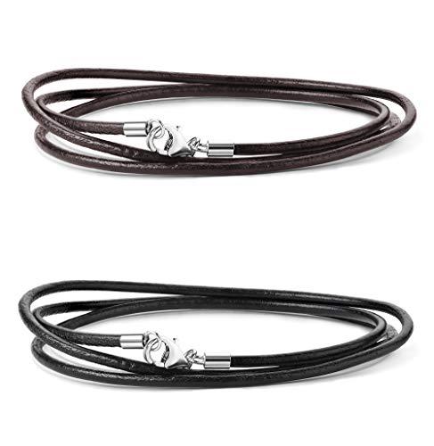 Sllaiss 2 Stück 2MM Leder Halskette schwarz und braun 925 Sterling Silber Verschluss Halskette Kette 16-30 Zoll