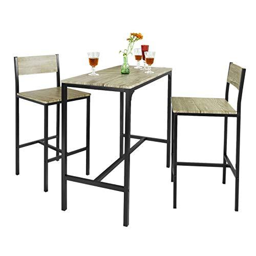SoBuy Juegos de Muebles Altas, Mesa de Cafetería, 3 Piezas Set de Balcón, Set de Bar, OGT03-N, ES (2 Sillas)