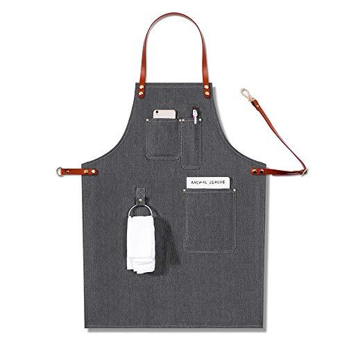 SEGIBUY Denim Werk Schort Chef Verstelbare Bib Schort met Multi-Tools Zakken Keuken Koken Werkkleding voor Mannen Vrouwen