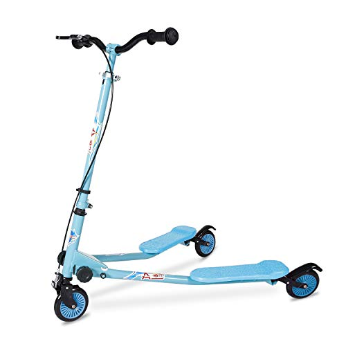 AODI Kids Foldable Swing Scooter Adjustable Height Kick Speeder Wiggle Scooters Self Push Drift for Boys Girl  5 Years Old and Up