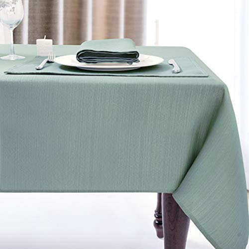 Luxury Stripe Fabric Table Cloths, Heavy Weight Classic 100% Polyester Tablecloths, No Iron, Water Resistance Soil Resistant Holiday Table Cover for Dining Room,60 Inch x 84 Inch Oblong,Green Teal