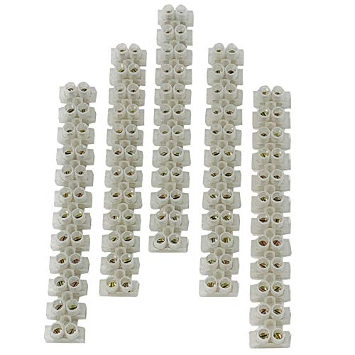 Terminal Block, PUSU Dual Row Terminal Strip, Eurostyle Screw Terminal Block for Electrical DIY and Small Home Projects, 6mm2 Wire Gauge, 12-Position 5Amp 380V (Pack of 5)