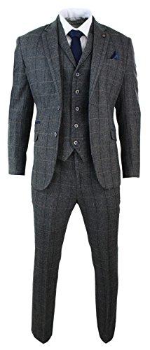 Cavani Herrenanzug 3 Teilig Grau Fischgräte Tweed Design Klassisch Eng Tailliert Vintage