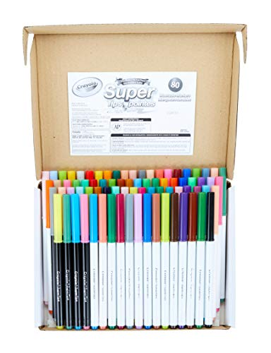 Crayola 80 Count SuperTips Washable Markers, Now with 80 Unique Colors, No Duplicates, Gift