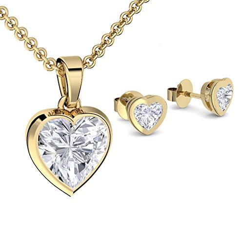 Geschenkset für Frauen Schmuckset Damen Gold Silber 925 hochwertig vergoldet Geschenkset Geburtstag Freundin Kette Ohrringe *GRATIS Ich liebe Dich GESCHENKBOX* SE22VGGGZIFA