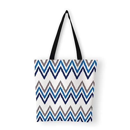 LINADEBAO Bunte gestreifte Handtaschen Damen Schultertaschen geometrisches Muster Casual Canvas Tasche Tote, 11
