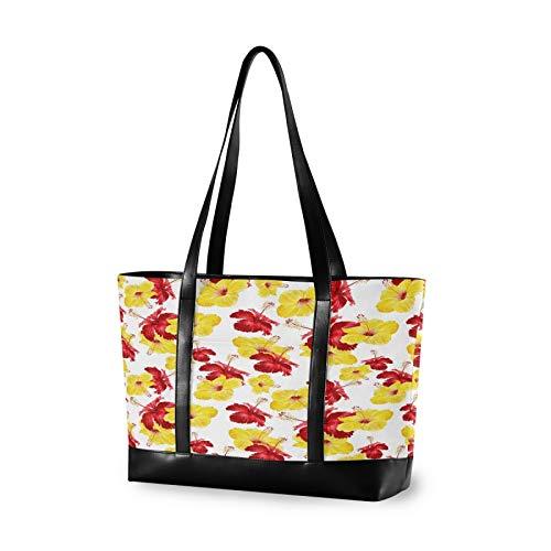 Red Yellow Flower 14 15 15.4 15.6 inch Laptop Tote Bag for Women Large Lightweight and waterproof Computer Handbags Laptop Shoulder Messenger Bag