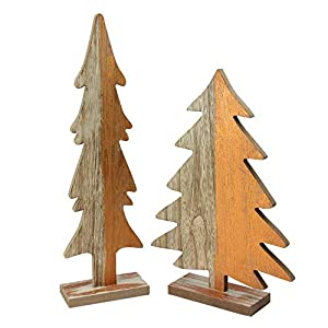 Set Of 2 Wood Trees With Golden Orange Metallic Paint Tree is free standing and equipped with a wood stand Large tree measures 20 inches high by 4 inches wide by 2 inches deep Small tree measures 11.5 inches high by 8 inches wide by 2 inches deep