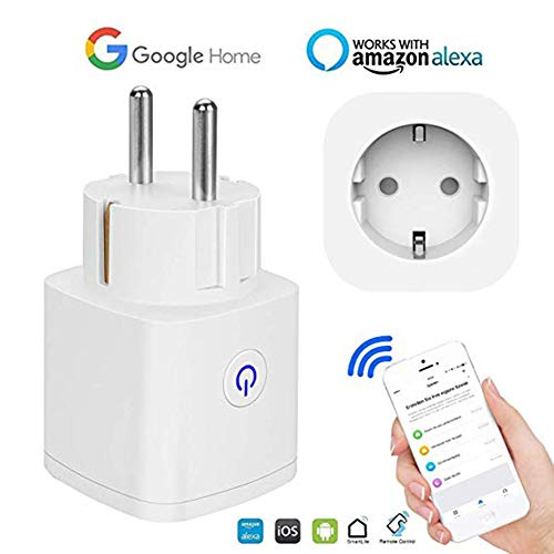 Timer Plug Wireless Outlet Alexa, Smart Outlet Timer digital Medidor de energía Wifi Outlet Conmutable sus electrodomésticos desde cualquier lugar compatible con Alexa Google Home Smartphone control