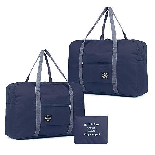 2 Pack Faltbare Reisetasche, Leichte Handgepäcktasche für Frauen und Männer, wasserdichte Mehrzweck Sporttasche für Sport, Fitness, Urlaub (Dunkelblau)