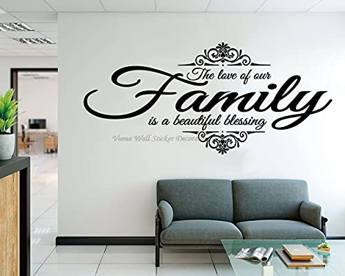 LEV Wall Stickers - Family Love Blessing Vinyl Wall Stickers Living Room Bedroom Home Decoration Art Decal Gift Can be Customized Short Slogan Decal - by 1 PCs
