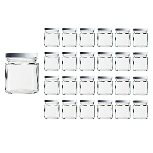 casavetro 24 x 67, 105, 210, 300, 400 ml Vorratsgläser mit Schraubverschluss Deckelfarbe Weiss Rundgläser Einmachgläser Marmeladengläser Honig, Gläser(24 x 300 ml)