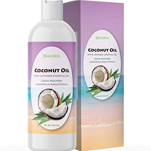 Fractionated Coconut Oil for Skin and Hair with Relaxing Lavender Essential Oil – 100% Pure Carrier Oil – Aromatherapy Massage Oil for Women and Men – Hair Mask for Dry Damaged Hair – 8oz