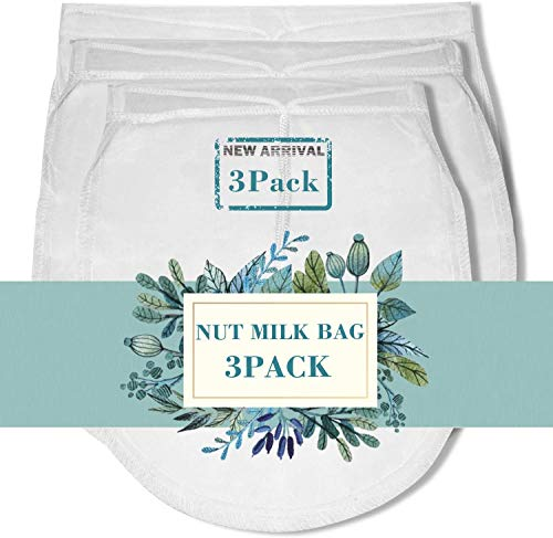 XelNaga Nut Milk Bag Reusable 3 Pack 200 Micron Cheesecloth Bags for Straining Almond/Soy Milk Greek Yogurt Strainer… |