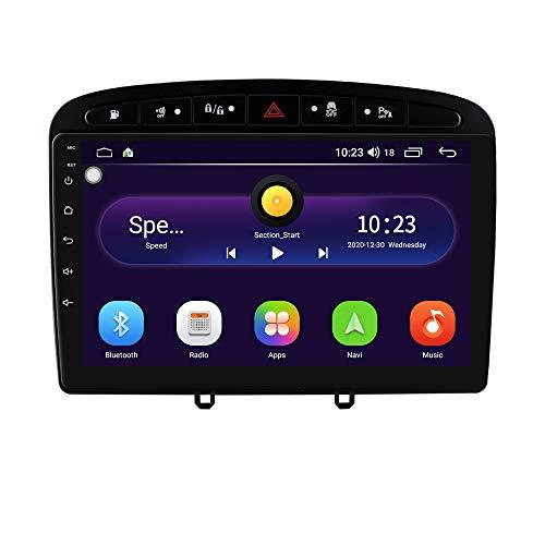 Autoradio stéréo avec écran Tactile de 9 Pouces Système Android 10 pour Peugeot (308 308S 408) 2012-2020, la Navigation GPS de Voiture Prend en Charge la Commande au Volant WiFi USB Bluetooth (Noir)